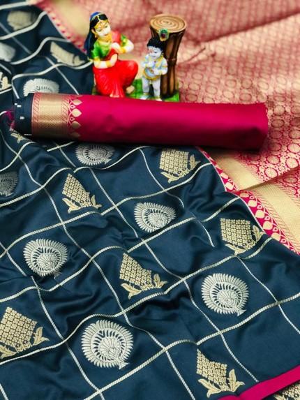 navy Blue coloured soft silk fancy saree