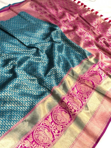 Women's Blue Jacquard Traditional Prepossessing Saree