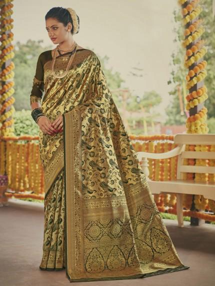 Stunning Dark Green Paithani silk Silk Woven saree