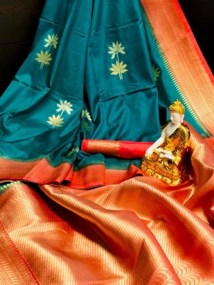Women's Designer Blue Dola silk saree