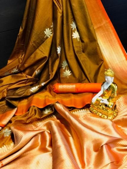 Women's Designer Brown Dola silk saree