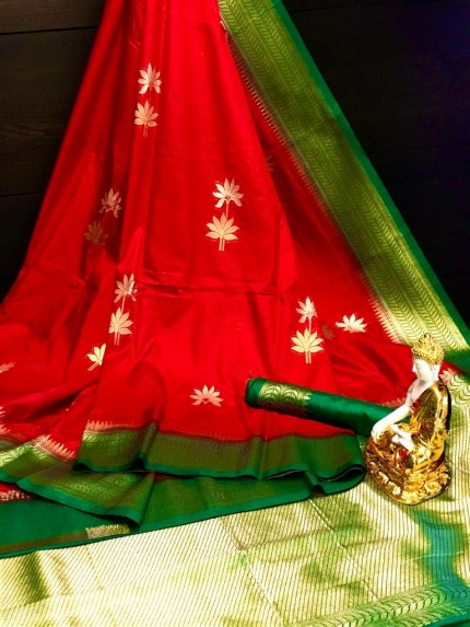 Designer Red Dola silk saree