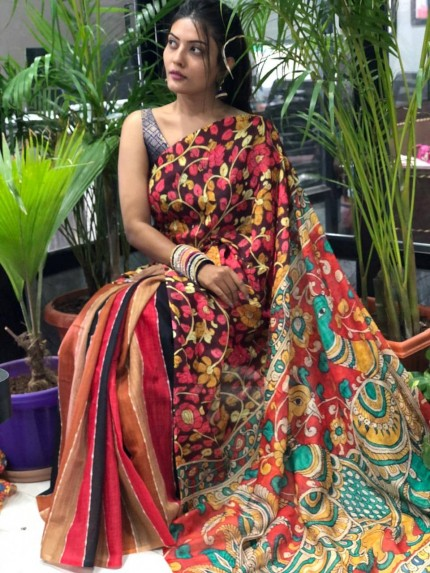 women's Digital printed linen saree
