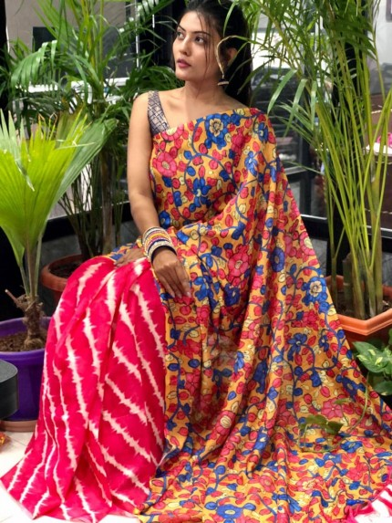 Digital printed linen saree online