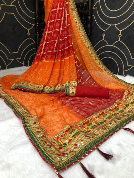 women's Georgette Bandhani Printed Gota Pati Saree india