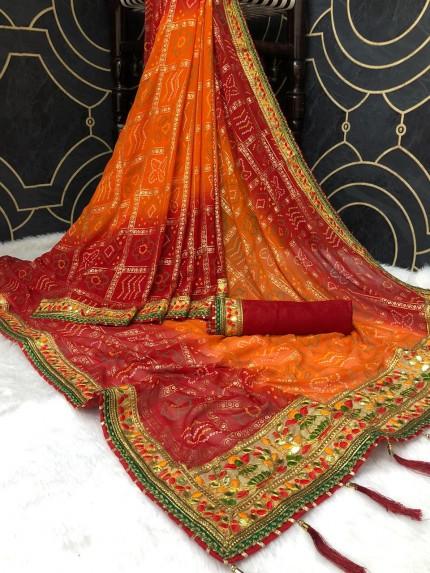 Georgette Bandhani Printed Gota Pati Saree