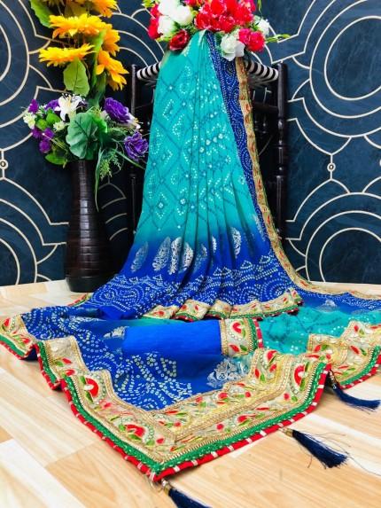 women's Georgette Bandhani Printed Saree in Blue