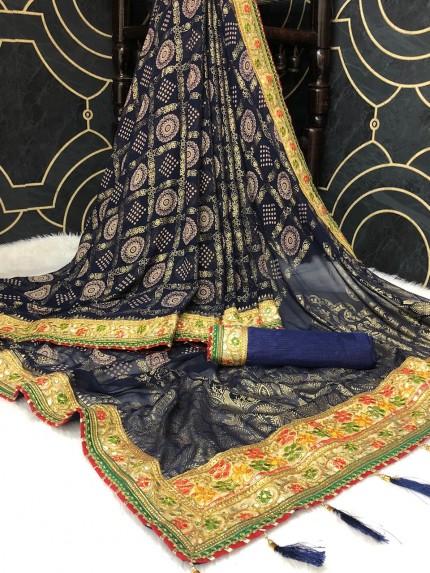 Georgette Bandhani Printed Saree in Blue