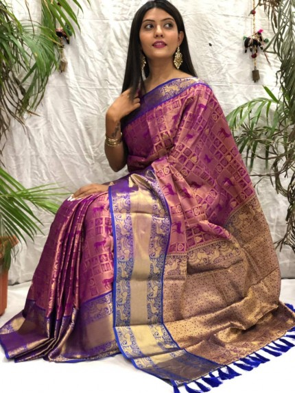 Gorgeous kanjeevaram silk saree in Purple