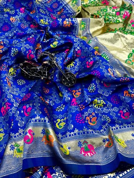 Gorgeous Royal Blue Soft Banarasi silk saree by grabandpack