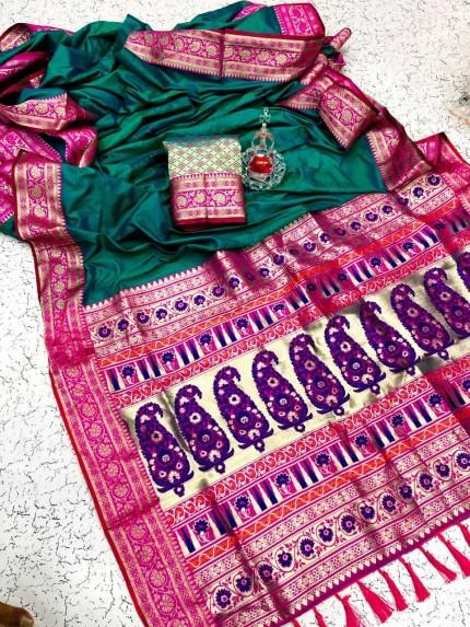 Graceful Green Soft Banarasi Silk Saree at grabandpack