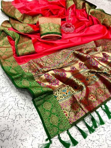 Graceful Peach Soft Banarasi Silk Saree at grabandpack