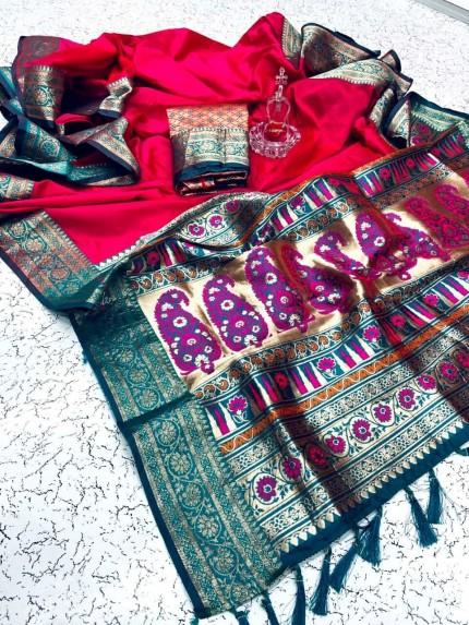 Graceful Pink Soft Banarasi Silk Saree at grabandpack