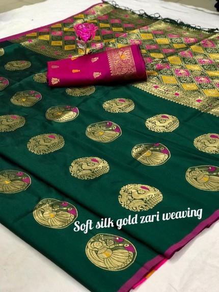 Women's Green Banarasi Silk Weaving Jacquard Saree by grabandpack