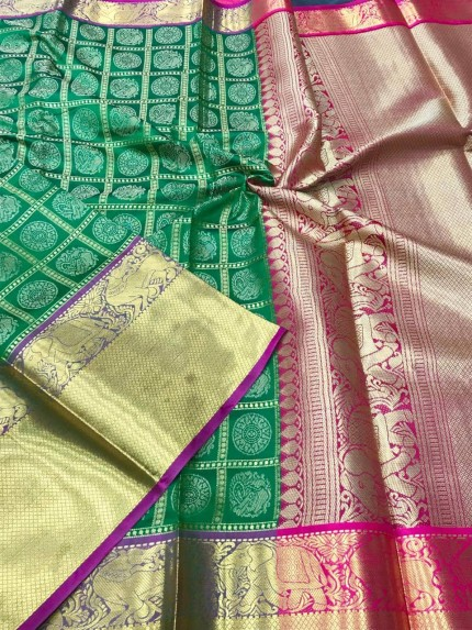 Green color kanchipuram silk saree