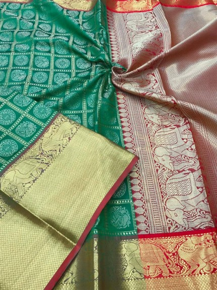 women's Green color kanchipuram silk saree gnp009967 - GrabandPack