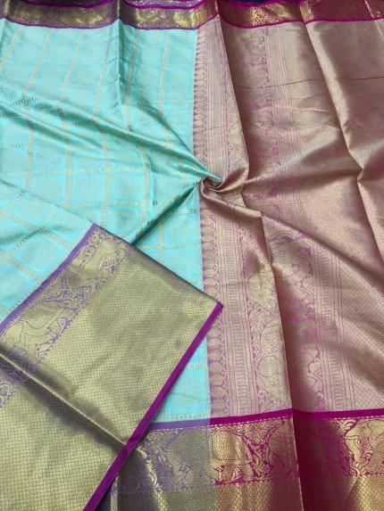 Turquoise color Kanjivaram silk saree