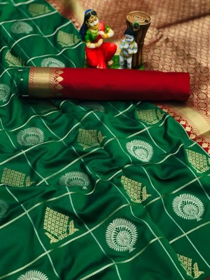 Green coloured soft silk fancy saree