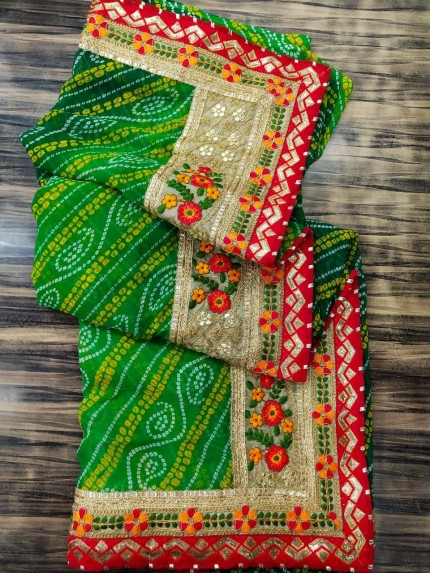 Green Georgette Bandhni Printed saree