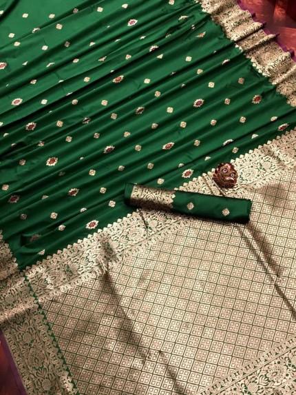 Green Lichi Silk Traditional Saree at grabandpack