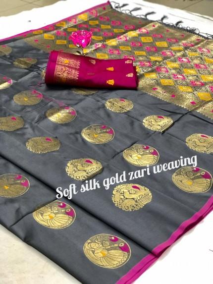 Women's Blue Banarasi Silk Weaving Jacquard Saree by grabandpack
