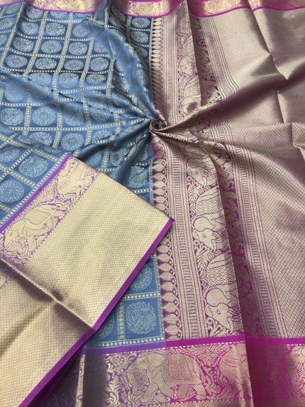 Grey color Kanjivaram silk saree