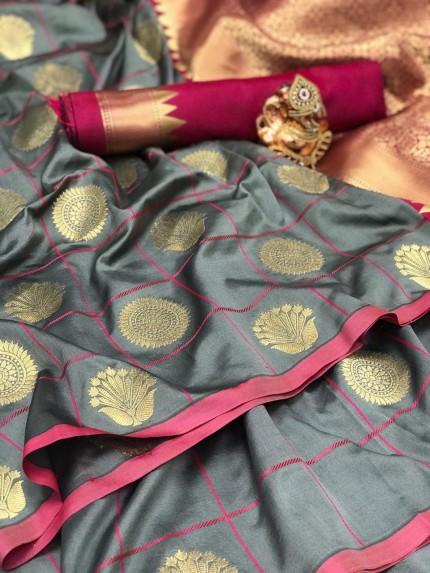 Soft silk checks woven saree in Grey