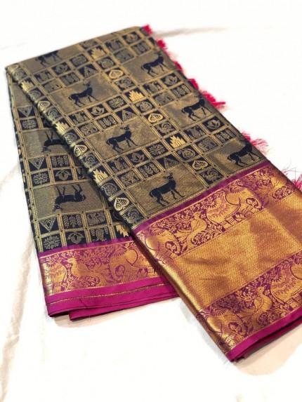 Navy Blue kanchipuram silk voguish saree