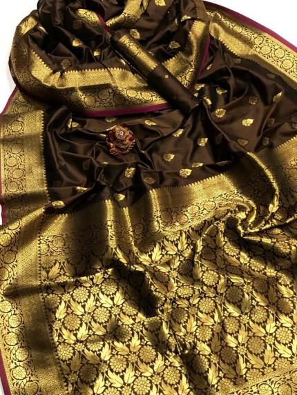 Women's Latest Designer Brown Lichi Silk Saree at GrabandPack