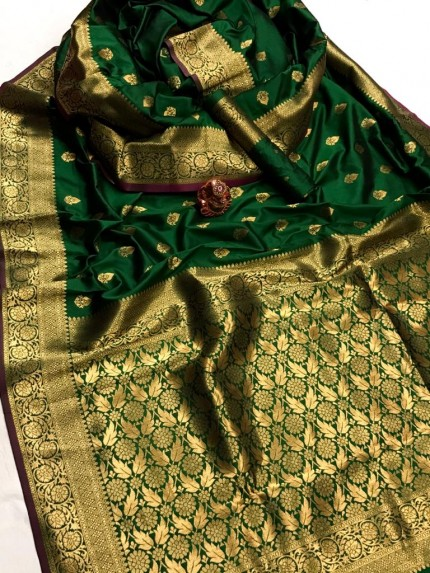 Women's Latest Designer Green Lichi Silk Saree