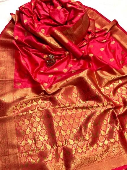 Women's Latest Designer Pink Lichi Silk Saree at GrabandPack