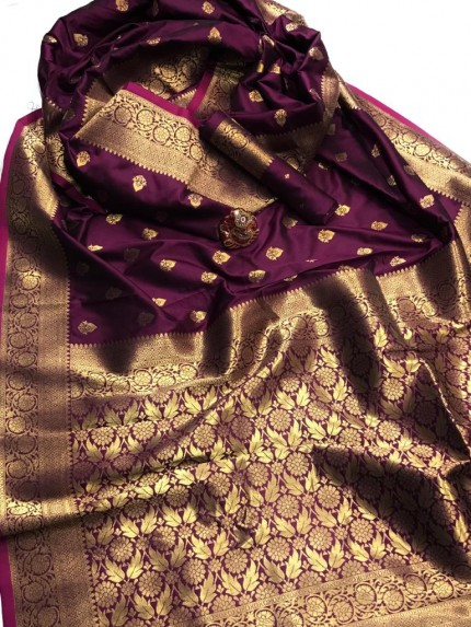 Women's Latest Designer Purple Lichi Silk Saree