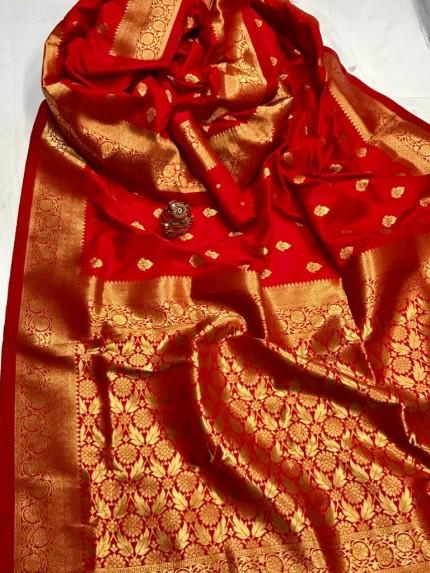 Women's Latest Designer Red Lichi Silk Saree at GrabandPack