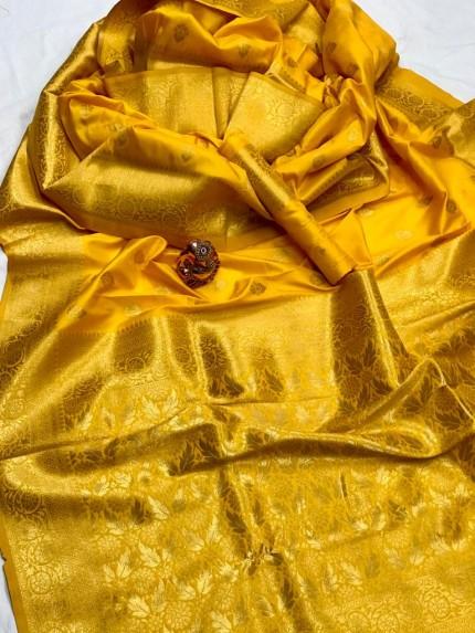 Women's Latest Designer Yellow Lichi Silk Saree grabandpack