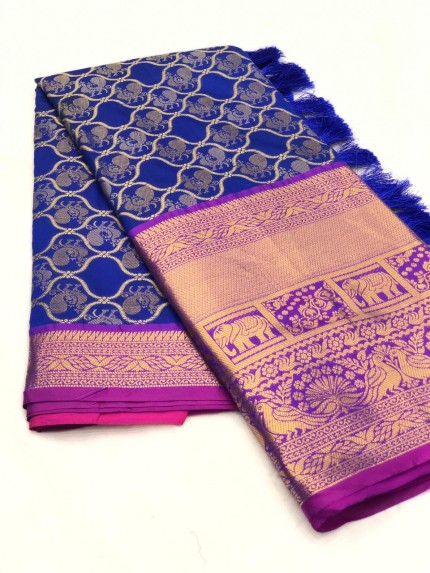 Women's latest kanchipuram silk saree in Blue