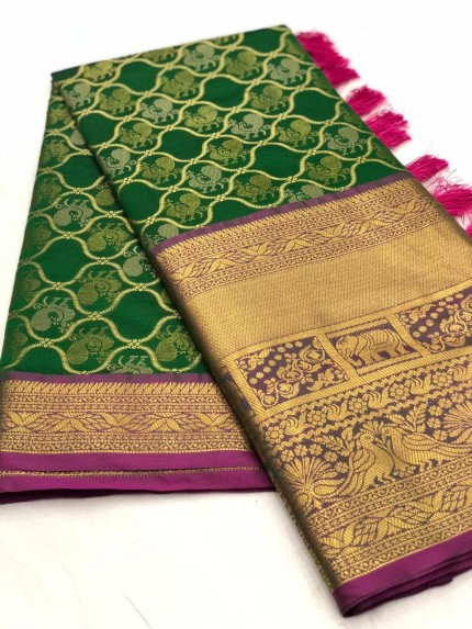 Women's latest kanchipuram silk saree in Green