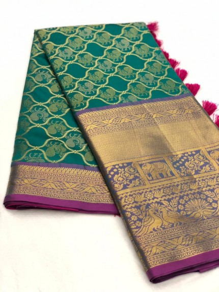Green color kanjivaram saree