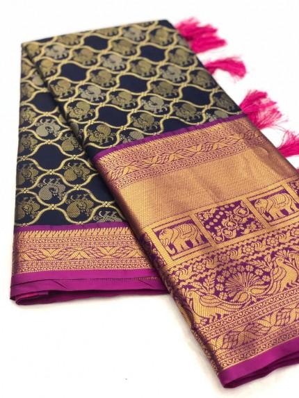 Women's latest kanchipuram silk saree in Navy Blue