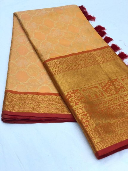 Women's latest kanchipuram silk saree in Orange