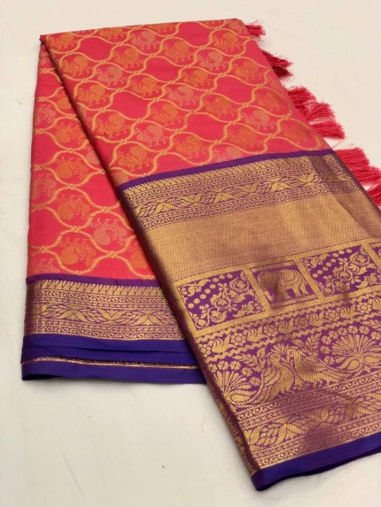 Women's latest kanchipuram silk saree in Peach