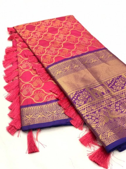 Pink color kanjivaram saree