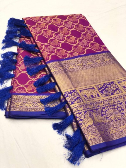 Women's latest kanchipuram silk saree in Purple