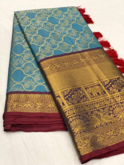 Women's latest kanchipuram silk saree in Sky Blue