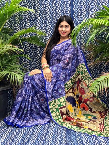Women's linen party wear Printed saree grabandpack