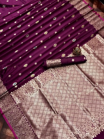 Purple magenta coloured Traditional Saree at grabandpack
