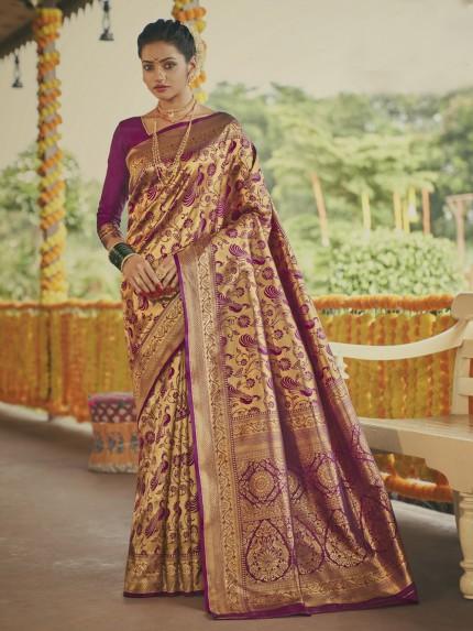 Stunning Magenta Paithani silk Silk Woven saree