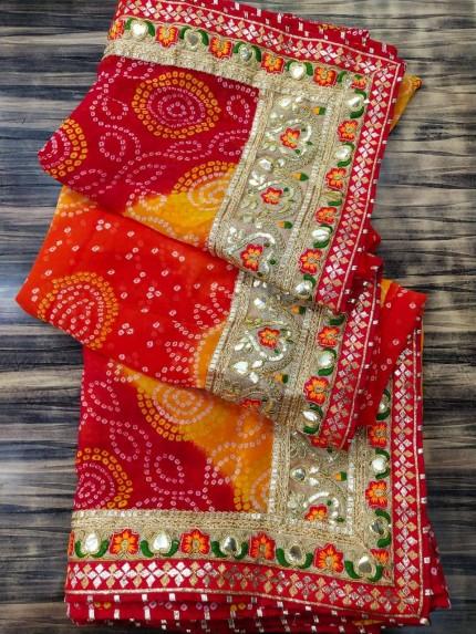 Maroon Georgette Bandhni Printed saree