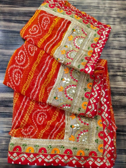 Red Georgette Bandhni Printed saree