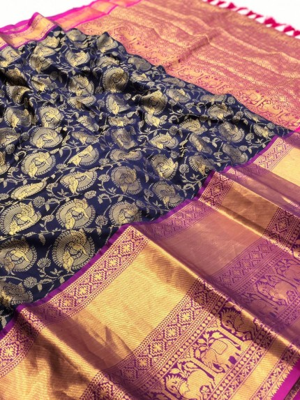 grabandpack Women's Blue Designer Party Wear Silk Saree