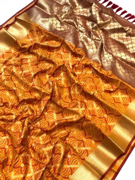 Orange banarasi saree online - grabandpack
